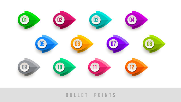 Colorful bullet points - numbered from one to twelve. Vector illustration.
