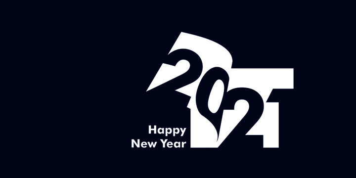 Happy New Year 2021 Text Design Patter, Vector illustration