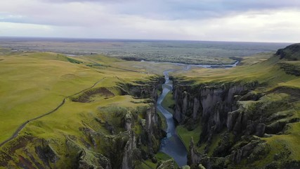 Wall Mural - Flying above the Fjadrargljufur canyon in south east Iceland