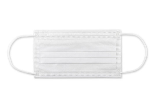 White medical mask isolated on white background with clipping path. Medical mask protection against pollution, virus, flu, coughing and coronavirus.