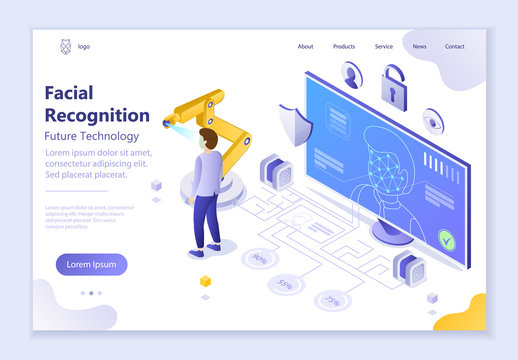 Future technology - Facial Recognition, 3d isometric vector illustration
