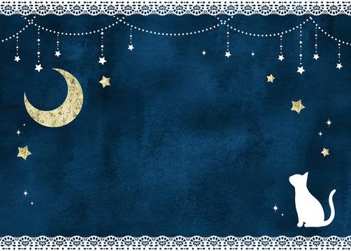 猫と月と星のレースフレーム水彩