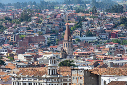View of the city of Cuenca, Ecuador, with it's many churches at sunny summer day. South America.