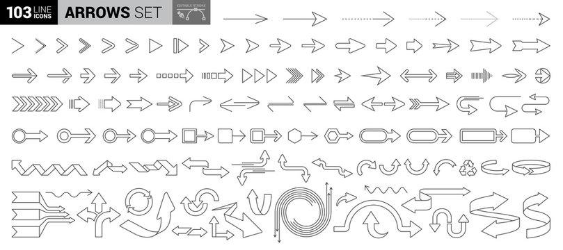 100 line icon set - Arrows. Light version editable stroke