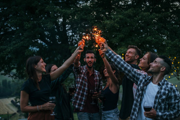 Group of happy millennials have fun with fire sparkles at picnic in spring at sunset on a camping holiday. People drinking wine and eating meat prepared at the barbecue