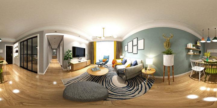 3d render of 360 degrees home living room