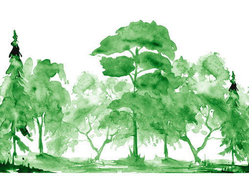 Seamless watercolor pattern. Summer  landscape, forest, park. Silhouettes of trees and bushes. Linear curb. Mixed forest - oak, ash, maple, birch, pine, cedar, spruce. Watercolor paint splash. Scenery