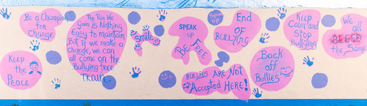 wall with anti bullying quotes