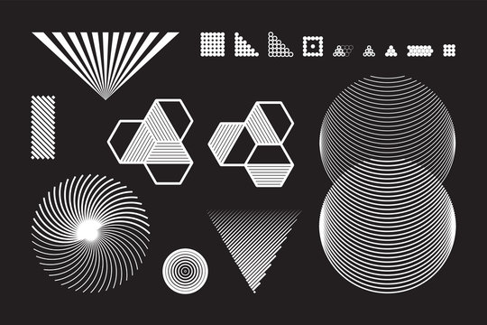 Universal Geometric Shapes Set. Design Forms on Black Background