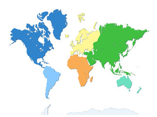 Fototapeta World map with Antarctica. seven continents. Each continent in different color. flat design. Atlas. Wallpaper obraz