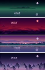 Fototapeta Vector Background night set obraz
