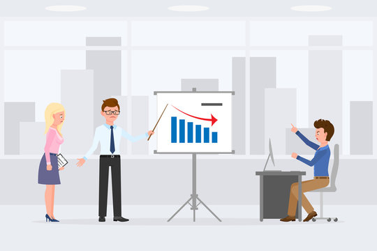 Sad, desperate, upset man and woman making bad results presentation vector illustration. Shouting, pointing finger, scolding, angry business director cartoon character set on cityscape background