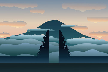 Famous temple in Bali. Lempuyang temple and mountain in clouds,  tranquil moment of peace in sunrise or sunset. Gate of the heaven. Modern hand drawn vector illustration, flat style Fototapete