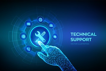 Technical support. Customer help. Tech support. Customer service, Business and technology concept. Robotic hand touching digital interface. Vector illustration. Wall mural