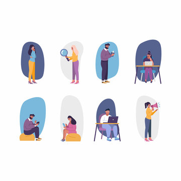 Flat vector set of people studing and learning with books, laptops and devices