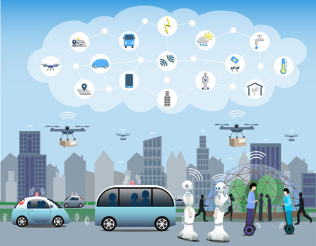 Internet of Things, IoT, city use case. Everything connected by 5G in the cloud. Drones, robots and autonomous vehicles. Smart green house to optimize plant growing in a sustainable environment.