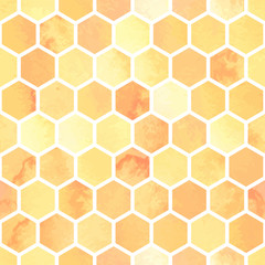Seamless watercolor pattern with yellow honeycomb polygons. Hexagon abstract background