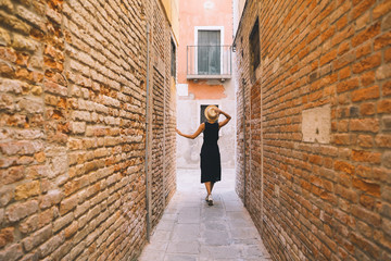 Young woman travel in Venice, Italy, Europe.