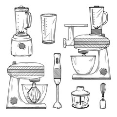 Large set of various blenders and kitchen robot. Vector