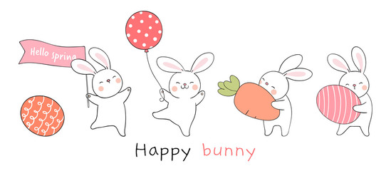 Draw rabbit with egg and carrot on white color For spring.