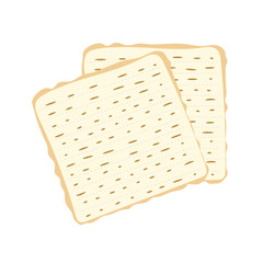 Jewish matzah bread vector illustration. Traditional matzoh pesach food.