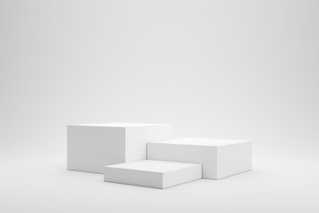 Empty podium or pedestal display on white background with box stand concept. Blank product shelf standing backdrop. 3D rendering. Fotobehang