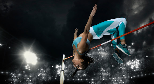 Woman in action of high jump. Sports banner