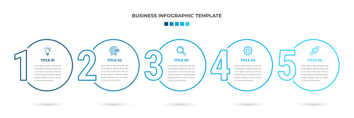 Minimal Modern Minimalist Business Infographics template with circle shape. 5 steps / option timeline with icons. For presentation, process, diagram, workflow, chart. Vector with blue, white color  Wall mural