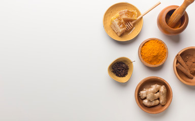 Indian oriental low cholesterol spices, honey, turmeric
