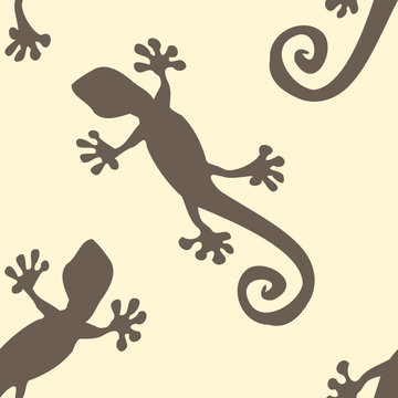 Gecko wallpaper - seamless pattern design in brown and yellow color
