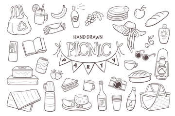 Picnic doodle set. Hand drawn picnic elements isolated on white background.