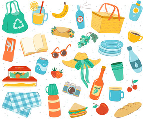 Picnic seamless pattern. Endless repeatable background with hand drawn picnic elements.
