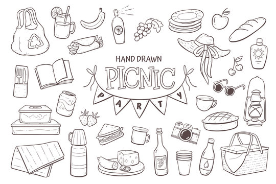 Picnic doodle set. Hand drawn picnic elements isolated on white background.