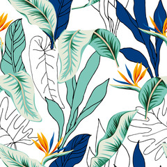 Tropical strelitzia flowers, green, blue, outline palm leaves, white background. Vector seamless pattern. Jungle foliage illustration. Exotic plants. Summer beach floral design. Paradise nature