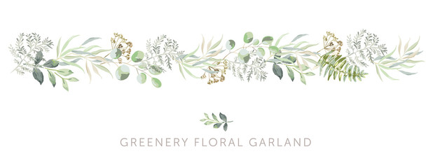 Greenery border of green leaves, fern, white background. Wedding invitation banner. Vector illustration. Floral garland arrangement. Design template greeting card