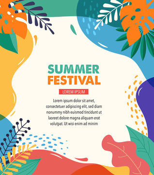Hello Summer, festival and fair banner design with vintage colors
