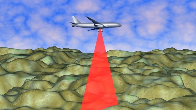 LIDAR on airplane in sky flies over mountains , scanning Earth land terrain. 3d rendering  illustration