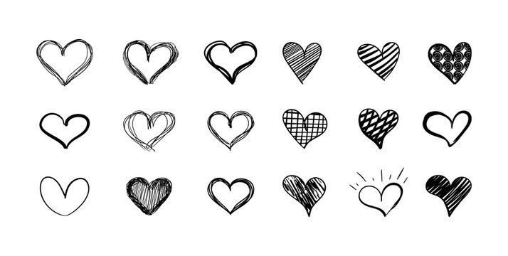Vector set of hand drawn hearts isolated on white background, black scribble lines.