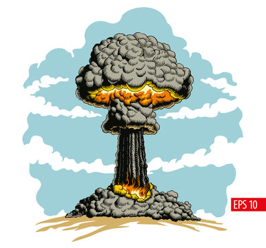 Nuclear explosion. Atomic bomb mushroom cloud vector Illustration.