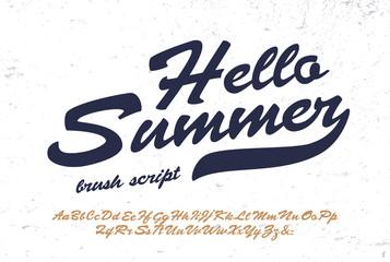 """Hello Summer"".  Original Brush Script Font. Retro Typeface. Vector Illustration."