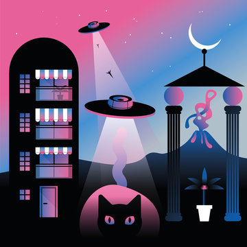building, cat and flying saucer