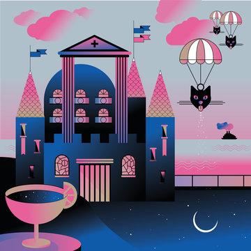 Surrealist landscape with a castle and parachutes