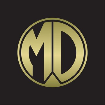 MD Logo monogram circle with piece ribbon style on gold colors