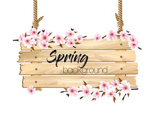 Wall Mural - Spring nature background with a pink sakura blossom and wooden sign. Vector