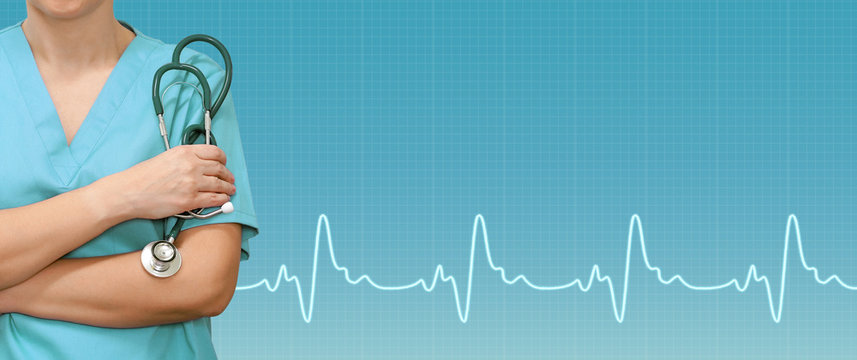 Female doctor or nurse with stethoscope in the hands and ecg line on medical green background. Medical web sites with copy space. Health care banner.