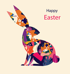 Fototapete - Happy easter greeting card with decorative easter rabbit