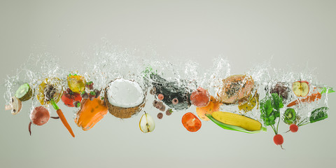 Papiers peints Cuisine fresh fruit and vegetables fall into the water causing large splashes.