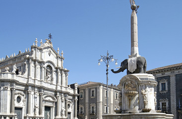 Piazza Duomo Square in Catania, Sicily, Italy.  Catania Cathedral in the background