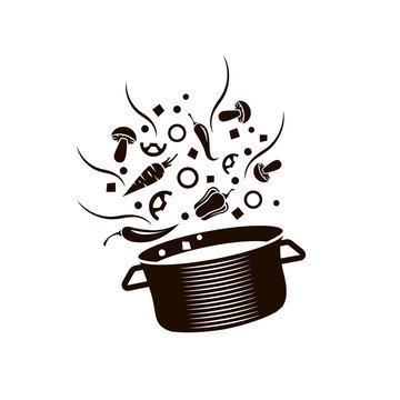 cooking process of soup on saucepan isolated on white background