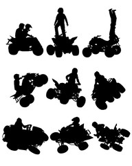 Fototapete - Man in protective clothing rides a sports bike. Isolated silhouette on a white background